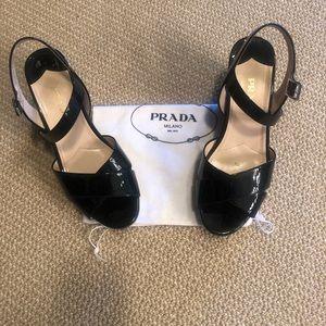 Prada Black Patent Wedge Sandal size 38 /8